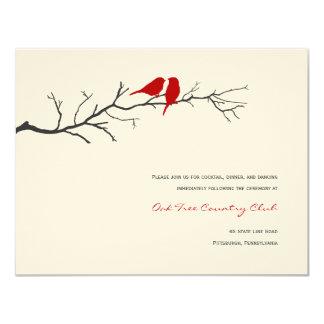 "Birds Silhouettes Wedding Reception Cards - Red - 4.25"" X 5.5"" Invitation Card"