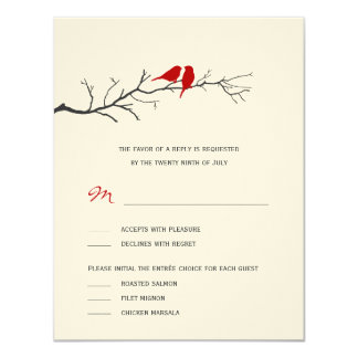 """Birds Silhouettes Wedding RSVP cards - Red - 4.25"""" X 5.5"""" Invitation Card"""