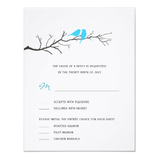 """Birds Silhouettes Wedding RSVP cards - Turquoise - 4.25"""" X 5.5"""" Invitation Card"""