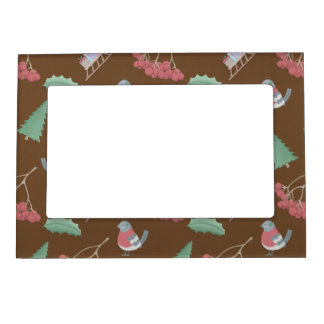 Birds, Sleds and Holly Christmas Magnetic Picture Frame