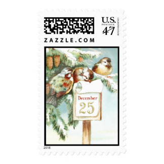 Birds Snow December 25 Christmas Postage Stamps