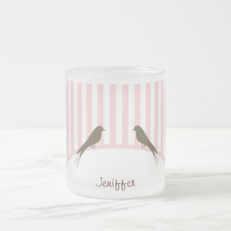 Birds Stripe Frosted Glass Mug