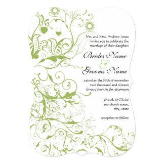 Birds & Swirls #17 Wedding Invitations