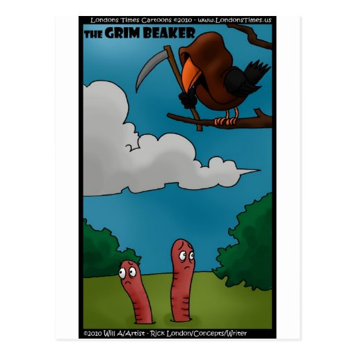 Birds To Worms The Grim Beaker Funny Gifts & Tees Post Cards