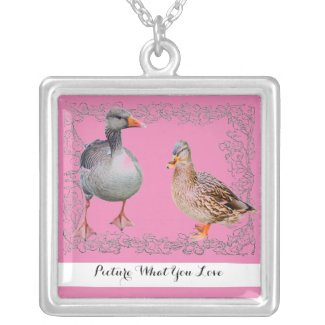 Goose and Duck Duo Necklace at Zazzle.com/lizardmarsh*