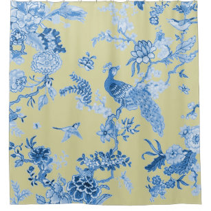 Birds Toile Blue Mustard Shower Curtain