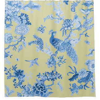 Yellow Toile Shower Curtain