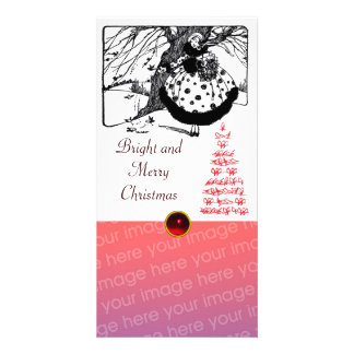 BIRDS TREE AND CHRISTMAS LADY Black White Red Gem Card