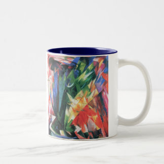Birds (Vogel) by Franz Marc, Vintage Cubism Art Two-Tone Coffee Mug