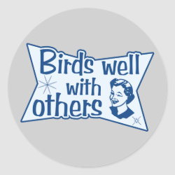 Round Sticker with Birds Well WIth Others design