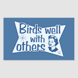 Rectangle Sticker with Birds Well WIth Others design