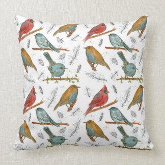 Birds Wildlife Ink Watercolor Illustrations Pillow
