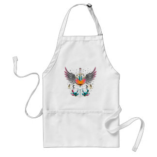 Birds wings heart sword tattoo adult apron