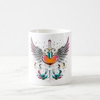Birds wings heart sword tattoo coffee mug