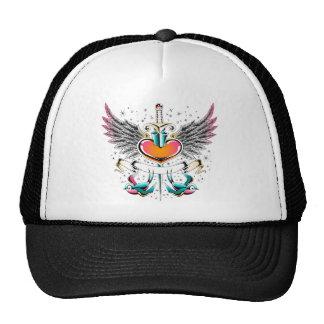 Birds wings heart sword tattoo trucker hat
