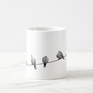 Birds wire pigeons classic white coffee mug