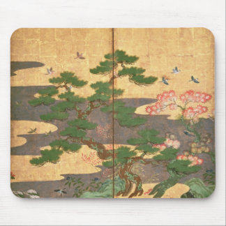 Birds with Autumn and Winter flowers Mouse Pad