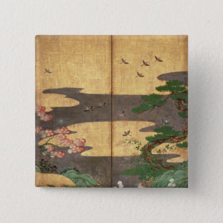 Birds with Autumn and Winter flowers Pinback Button