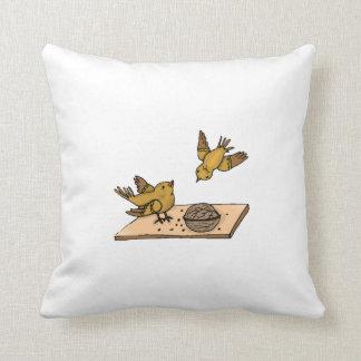 Birds With Nut Throw Pillows