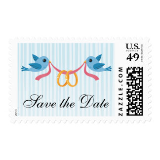 Birds with rings Save the Date postage stamps