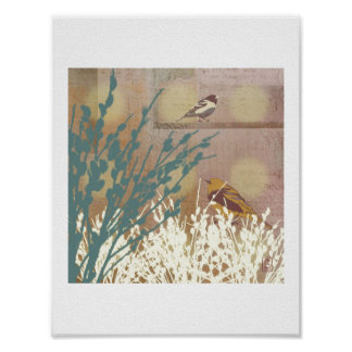 """Birds with Rosegold Pussy Willow"" Print"