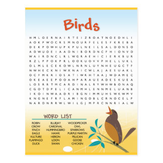 Birds Word Search Activity Card