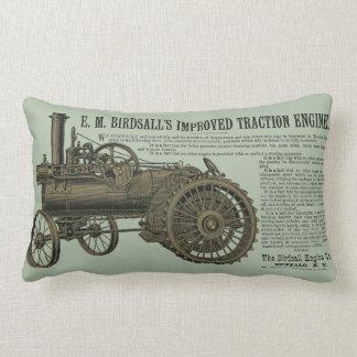 Birdsall's Steam Traction Engine 1889 Farm Tractor Lumbar Pillow