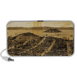 Birdseye de San Francisco de la colina rusa (1862) Altavoz De Viaje