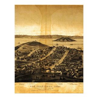 Birdseye de San Francisco de la colina rusa (1862) Membrete