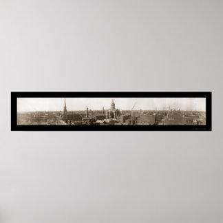 Birdseye Evansville EN la foto 1907 Póster