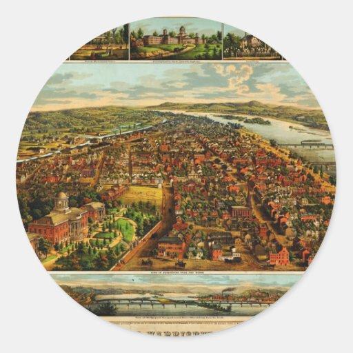Birdseye Map of Harrisburg, Pennsylvania (1855) Classic Round Sticker