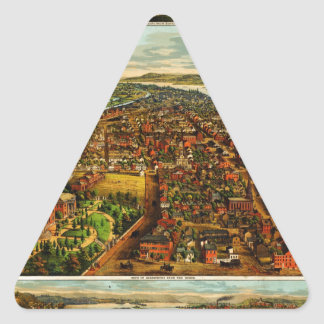 Birdseye Map of Harrisburg, Pennsylvania (1855).jp Triangle Sticker