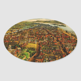 Birdseye Map of Harrisburg, Pennsylvania (1855) Oval Sticker