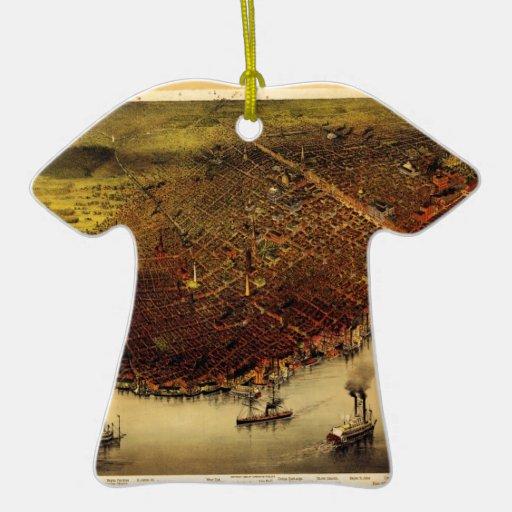 Birdseye map of New Orleans (1885) Ceramic Ornament