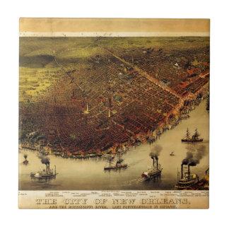 Birdseye map of New Orleans (1885) Ceramic Tile