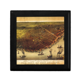 Birdseye map of New Orleans (1885) Jewelry Box