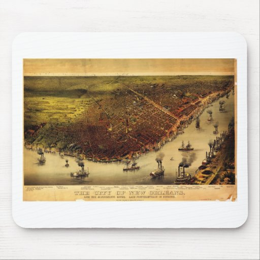 Birdseye map of New Orleans (1885).jpg Mouse Pad