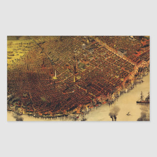 Birdseye map of New Orleans (1885).jpg Rectangular Sticker
