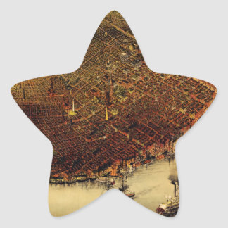 Birdseye map of New Orleans (1885).jpg Star Sticker