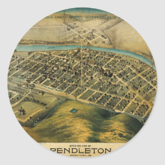 Birdseye map of Pendleton, Oregon (1890) Classic Round Sticker