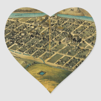 Birdseye map of Pendleton, Oregon (1890) Heart Sticker
