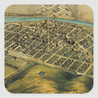 Birdseye map of Pendleton, Oregon (1890) Square Sticker