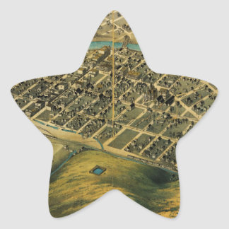 Birdseye map of Pendleton, Oregon (1890) Star Sticker