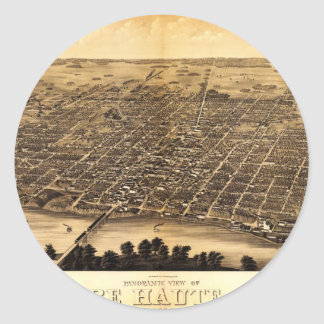Birdseye map of Terre Haute (1880) Classic Round Sticker