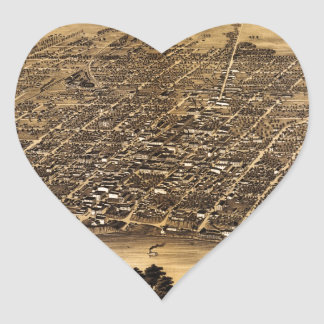 Birdseye map of Terre Haute (1880) Heart Sticker