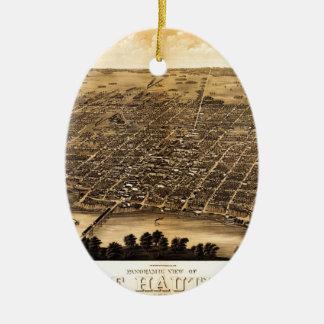 Birdseye map of Terre Haute (1880).jpg Ceramic Ornament