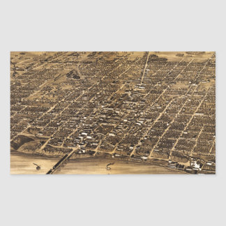 Birdseye map of Terre Haute (1880) Rectangular Sticker