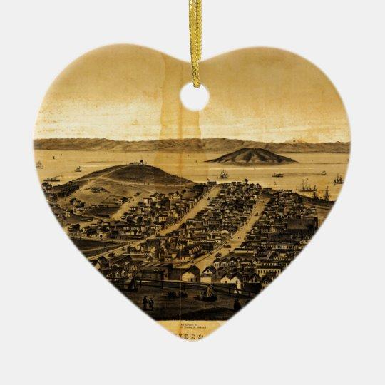 Birdseye of San Francisco from Russian Hill (1862) Ceramic Ornament