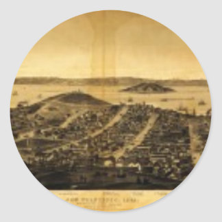 Birdseye of San Francisco from Russian Hill (1862) Classic Round Sticker