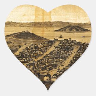 Birdseye of San Francisco from Russian Hill (1862) Heart Sticker